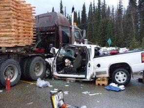 A truck in a crash